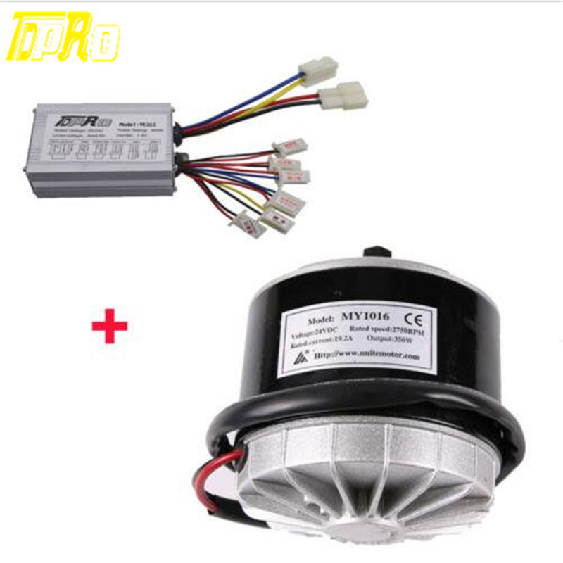 Motorbike Racing Electric Motor + Brush Speed Controller Unit 24V 350W Motorcycle Steering For Bicycle Scooter Bike