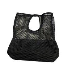8PCS / LOT Nylon Shopping Bag Handbag Mesh Hollow Out Grid Sandy Beach Package Canvas Single Shoulder Women