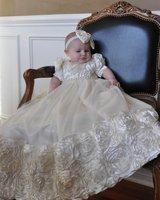 Ivory White Rosette Christening Gown Baby Girls Baptism Gown Short Sleeve O Neck Infant Girls Dedication Gown Christening Dress