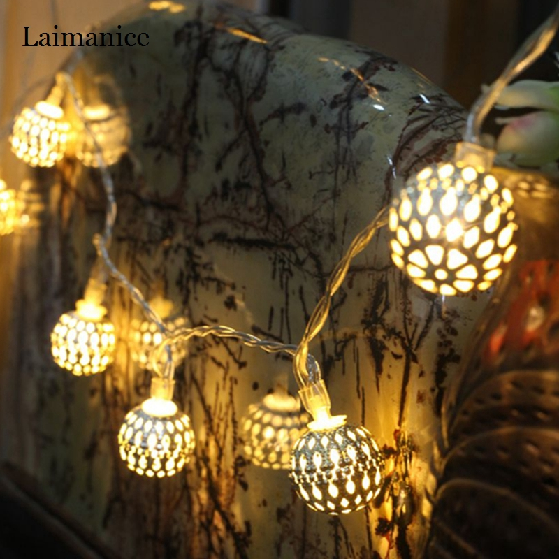 Good Quality 1.2M 2.5M Silver Hollow Iron Little Ball Shape LED String Lights Battery fairy lamp for Living Room Decorations