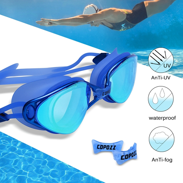 Copozz Plating Mirrored Swimming Waterproof Glasses for Adults Sport anti uv fog Protection Swim Goggles boihon bh017 anti fog uv protection hd vision swimming goggles