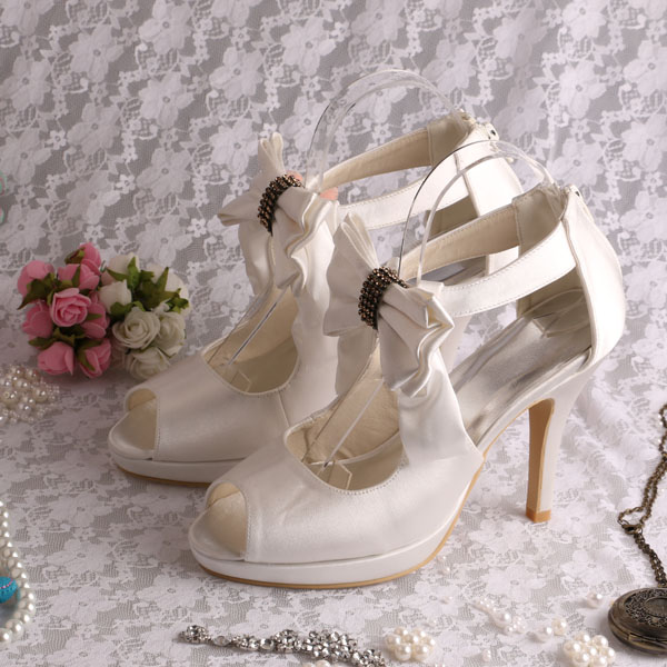 ФОТО Top Quality Wedding Bridal Prom Shoes Rhinestone Satin 10CM High Heels Women Pumps