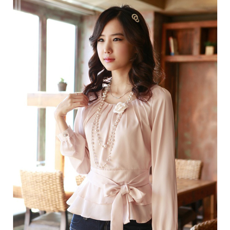 Beauty Career Lady Fashion Chiffon Blouses Size S-2XL Korean White & Pink Smart Waist Rayon Sweet Women Casual Shirts ...