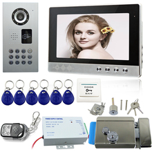 Big discount 10inch Video intercom system Rfid video doorbell camera remote control door phone electric door lock cable video waterproof IP65