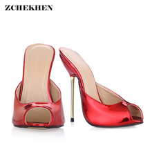 Sexy Summer Fashion High Heels Open Toed Sandals Slippers Mules12.4CM/10.7CM metal thin heels paty dress Chaussure Femme