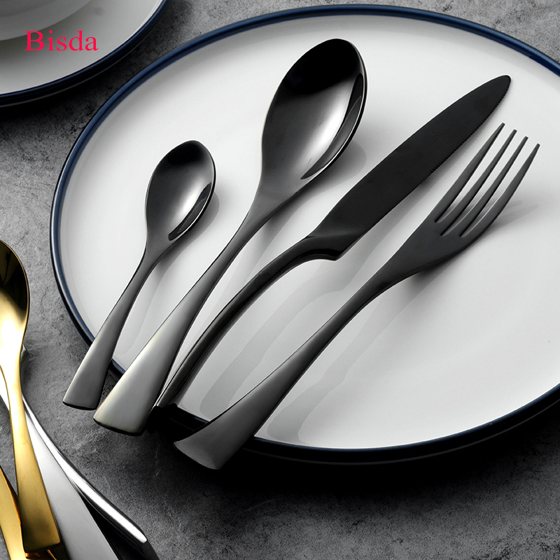 Kaya Cutlery Set 24Pcs/lot Black Cutlery Stainless Steel Dinnerware Set Mirror Polish Table Knife Fork Used for restaurant