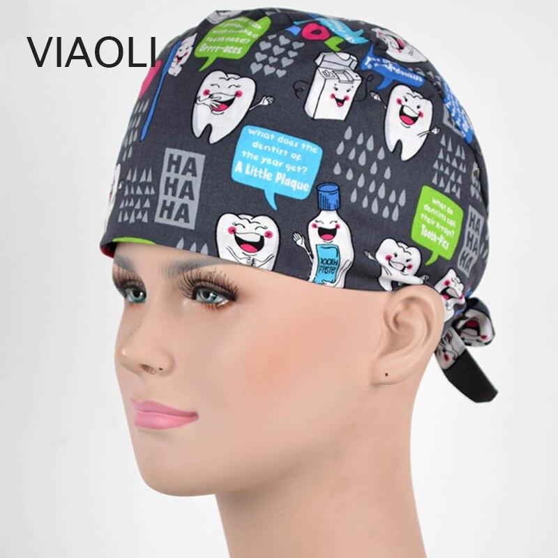 Viaoli New Surgery Hat Printing Operating Room Hats Beauty Doctors Work Cap Cotton Dentist Hat