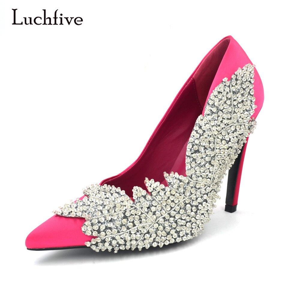 ... Crystal flower Wedding Shoes · Luchfive Luxury Rhinestone Leaf Women  Wedding Pumps Silk Satin Pointed Toe Stiletto high Heels Elegant Lady d0792503b0ca