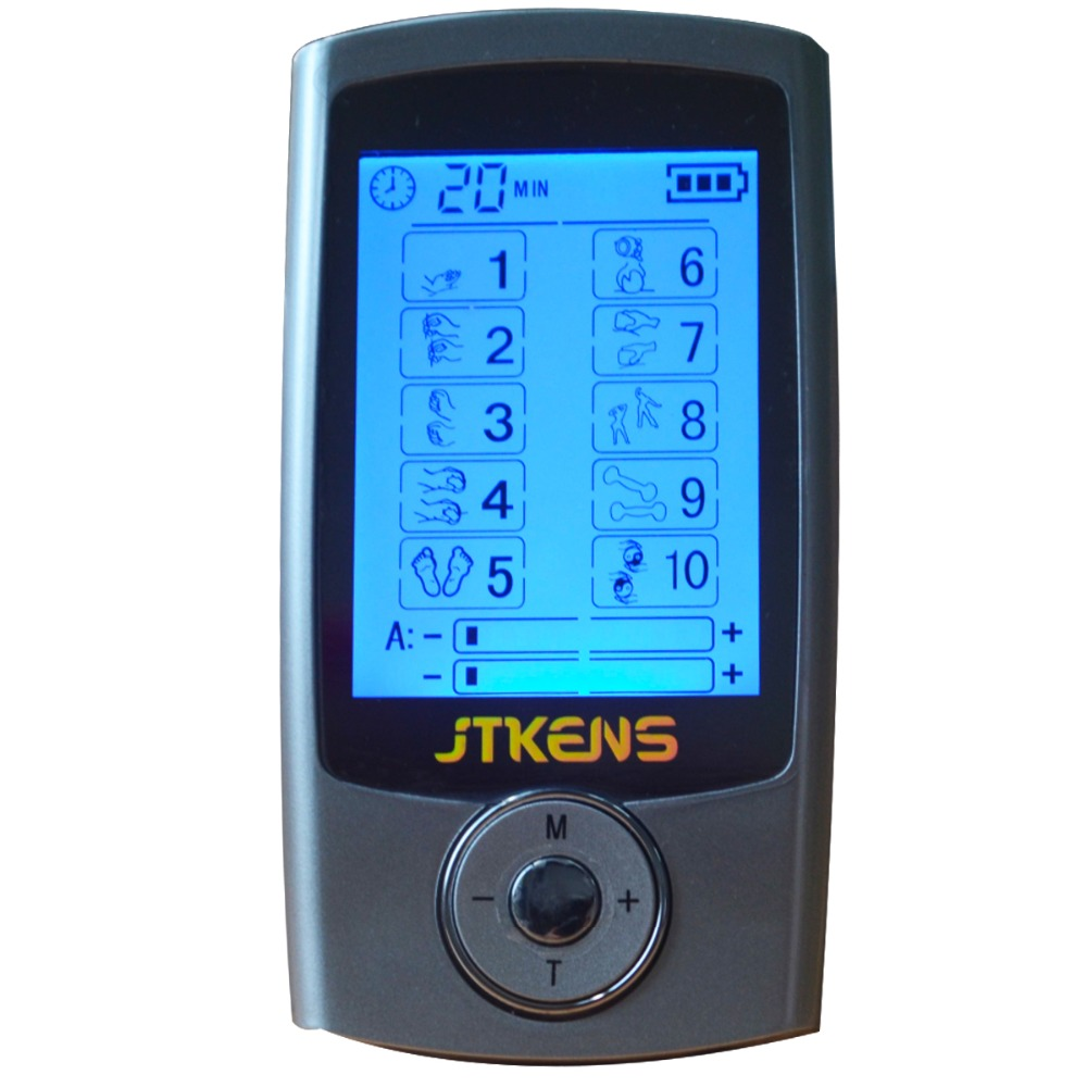 New JTKENS 2 Channels TENS Device Digital EMS Massager Electrode Muscle Stimulator Body Healthcare Physical Therapy
