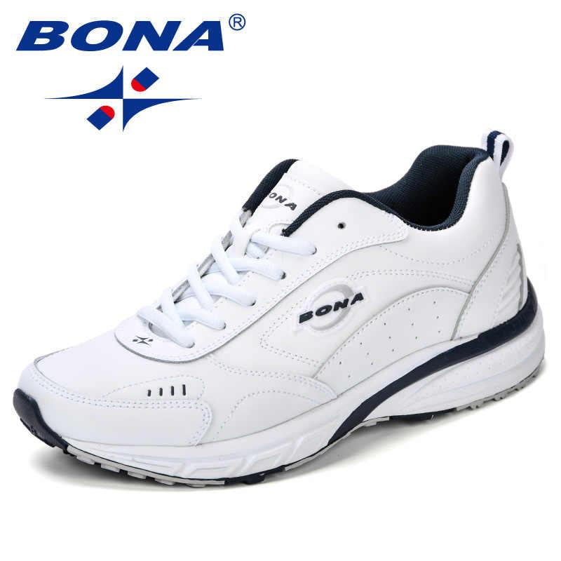 9046f881 ... BONA 2018 новые кроссовки Мужские дышащие zapatillas hombre уличные  спортивные кроссовки Lightweigh прогулочная обувь беговые кроссовки ...
