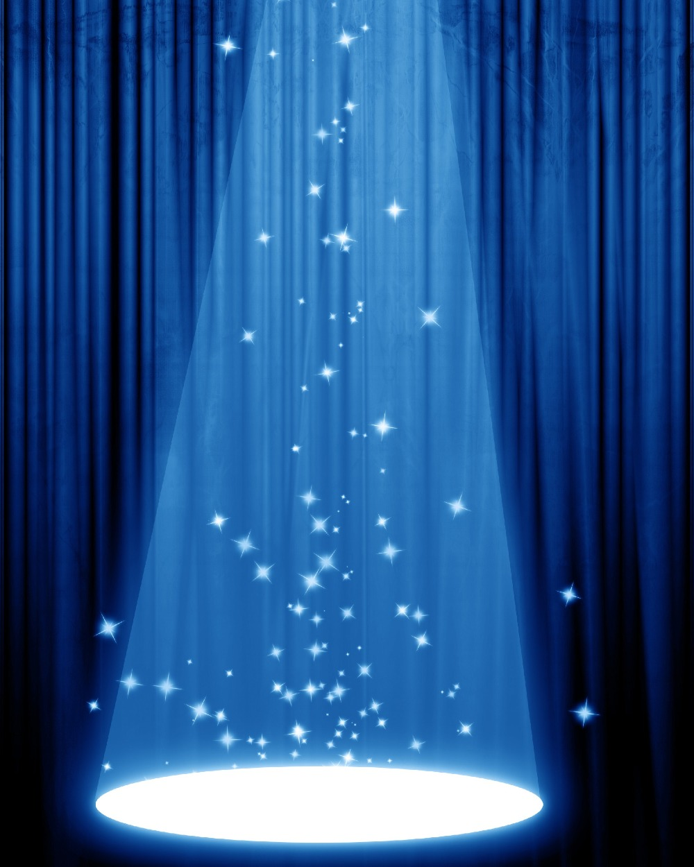 Theater Lights Background: Royal Blue Curtain Shine Light Theater Stage Photography