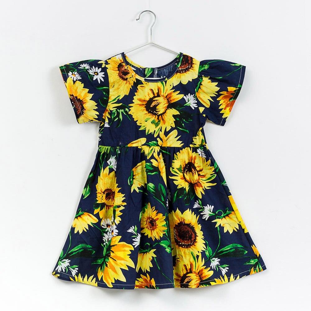 Lovely Baby Girls Floral Dress Kids Infant Toddle Floral Cartoon Sundress Clothes Princess Dresses Vestido De Festa Infantil