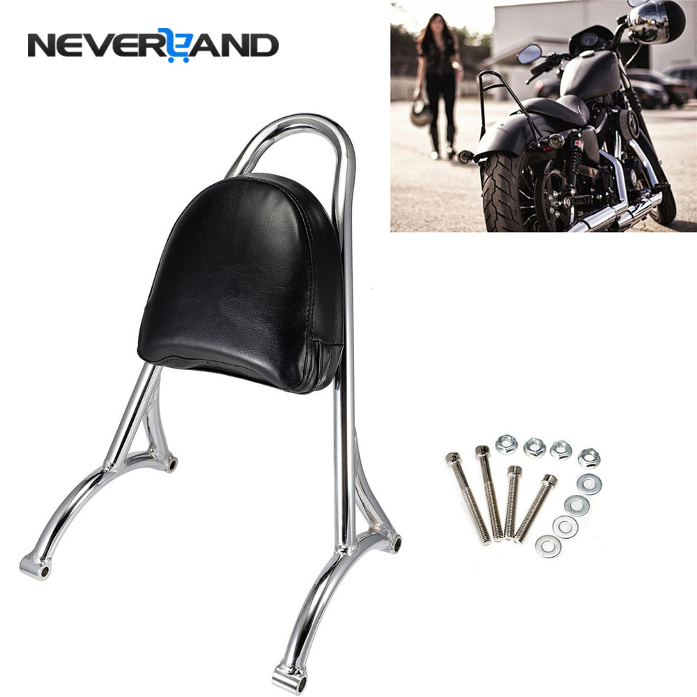 NEVERLAND Motorcycle Short Passenger Sissy Bar Backrest Pad for Harley Sportster XL 883 1200 2004-2016 2005 2006 2007 2010 D35 motorcycle accessories cnc derby timing timer cover for harley sportster xl883 xl1200 2004 2005 06 07 08 09 2010 2011 2014 black
