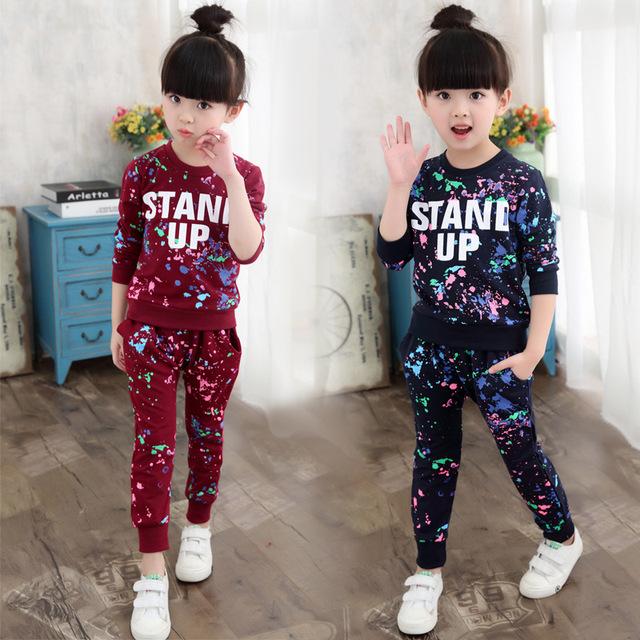 2016 Nova moda Primavera outono conjuntos de roupas meninas carta de impressão do bebê meninas esporte terno colorido camisa roupas para meninas