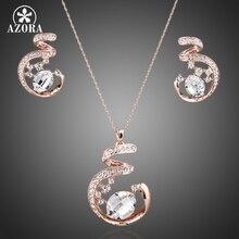 AZORA Diseño Único Rose Plateó Stellux de Cristal Austriaco Collar y Pendientes Establecidas Joyería TG0058