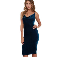 Women Sexy Spaghetti strap Midi Dresses Elegant Solid Velvet Club Party Backless One-Piece Bodycon Pencil Dress