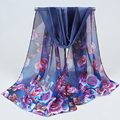 Hot Sale Summer Print Silk Scarf Oversized Chiffon Scarf Women Wrap Sarong Sunscreen Beach Cover Up Long Cape Female 036