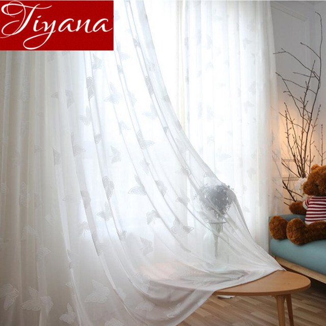 White Curtain Butterfly Embroidered Voile Modern Window Modern Living Room  Balcony Tulle Curtain Sheer Fabric Cortinas