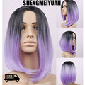 SHENGMEIYUAN Newly fashion cosplay wigs hair 40cm dark ombre purple wigs high temperature protein fibre free ship