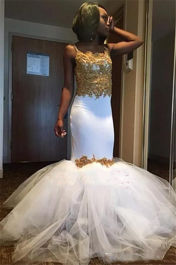 2019 blanc et or sirène robes de bal pour fille noire bouffi ruché Tulle jupes africain Occasion spéciale robes de soirée personnalisé