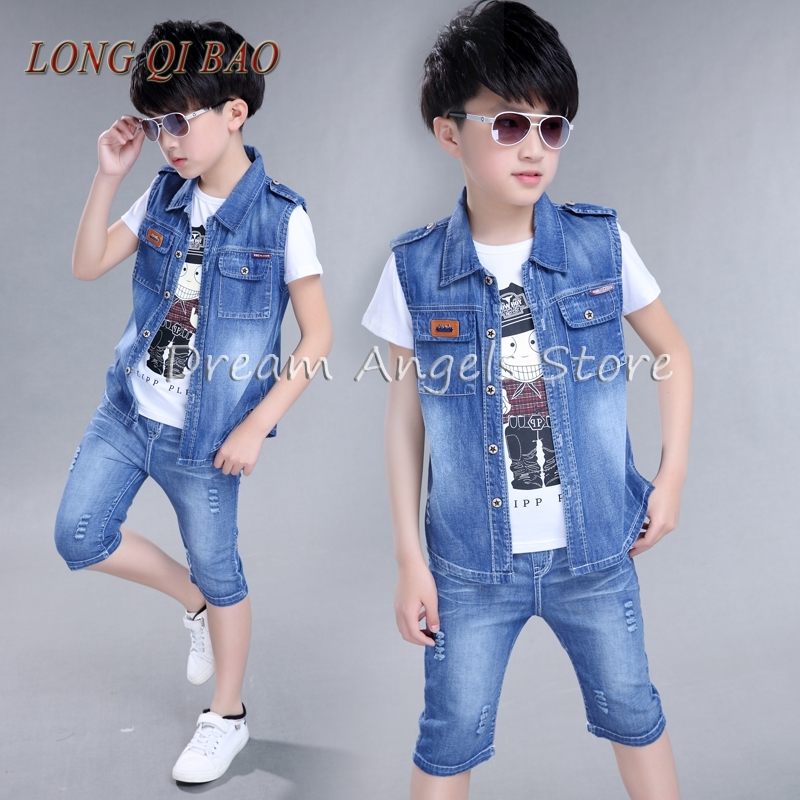 Summer new fashion cowboy cotton short sleeve T-shirt shorts two-piece suit children