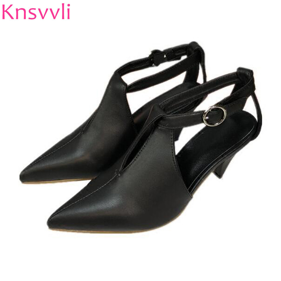 Kitten Heel Women Shoes Pionty Toe Genuine Leather One Word Buckle Women Pumps Spike Heels Slingbacks