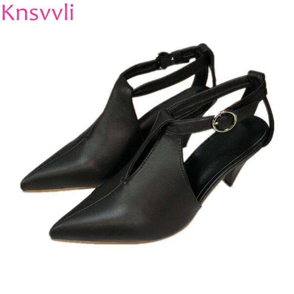 Chaton talon femmes chaussures Pionty Toe en cuir véritable un mot boucle femmes pompes à talons pointus Slingbacks haut talon femme sandales