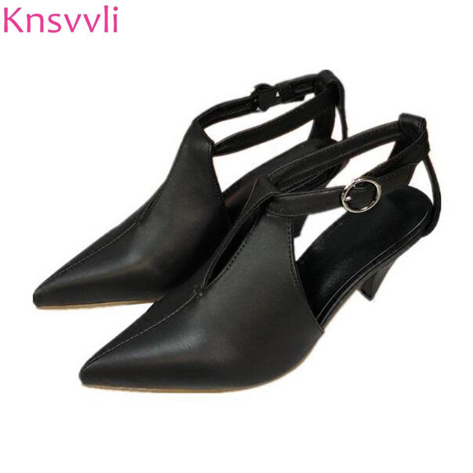 ลูกแมวส้นผู้หญิงรองเท้าPiontyนิ้วเท้าหนังแท้หนึ่งคำหัวเข็มขัดผู้หญิงปั๊มส้นเข็มรองเท้าหนังส้นสูงผู้หญิงรองเท้าแตะ-ใน รองเท้าส้นสูงสตรี จาก รองเท้า บน   1
