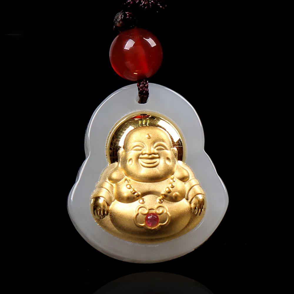 Good Quality Jade Buddha Pendant Jewelry Buddha Gold Jade Necklace Unisex Style Pendants For Men Women punk style etched gold plated eagle moon pendant necklace for men