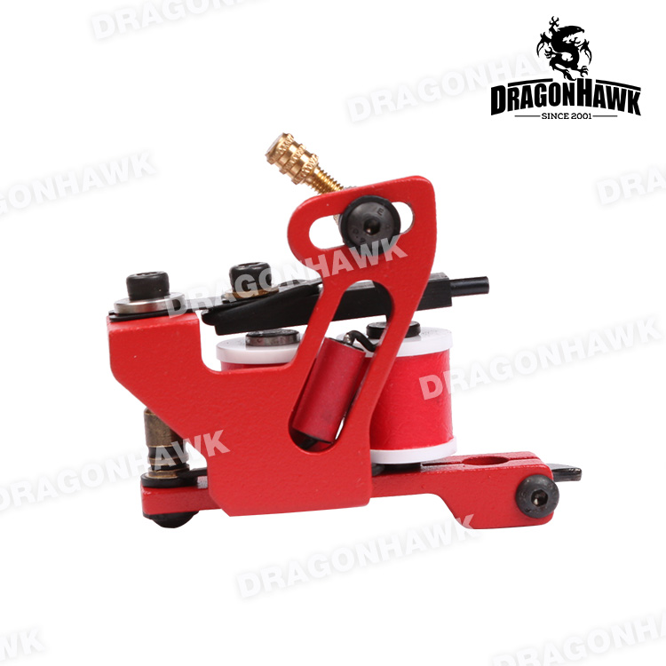 Hot Sales  Wire Cutting 10 Wrap Coils Tattoo Machine For Liner And Shader Red Color Iron Tattoo Supplies