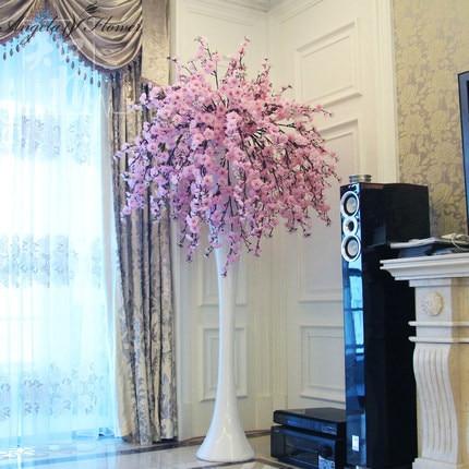 Hi Q Cherry Blossom Flower Decoration Wedding Hotel Living Room Vase Artificial Sakura 2 Color Mix Silk Flowers 20pcs Lot In Decorative Flowers Wreaths