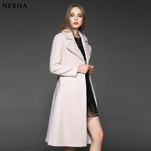 2016 Limited Spliced Long Trench Coat New Design Winter Women 70% Wool Coat Trench Thicken Warm Women's European Clothing A014