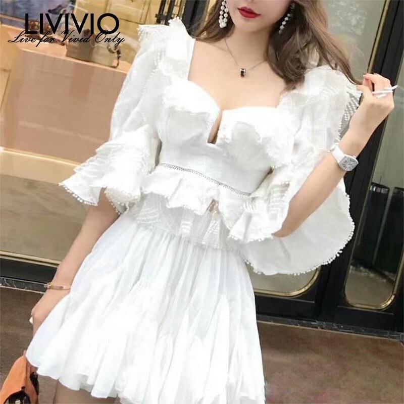 LIVIVIO Ruffle Lace Blouse Women White Shirt 2019 Autumn Sexy Ladies Square Neck Tops Puff