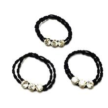 Women Girls Double Elastic Rubber Band Luxury Three Glitter Rhinestone Hair Rope Beaded Bamboo Shape Ponytail Holder Scrunchies(China)
