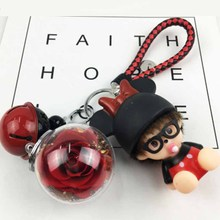 Keychain Eternal floats Pendant Gift Box Cartoon Interior Decoration Artificial Flower Valentines Day Han