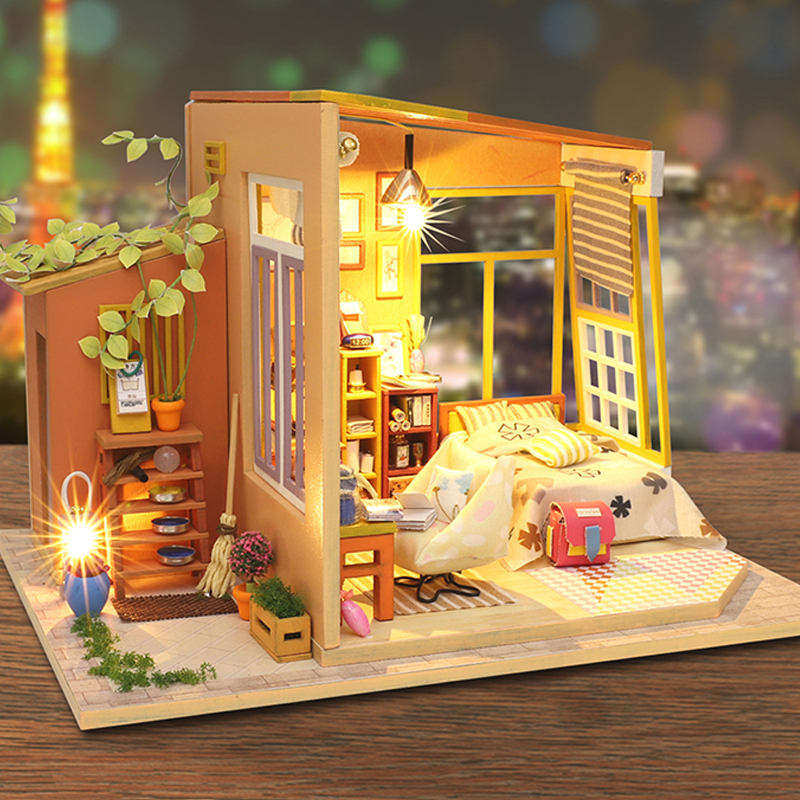 Miniature Children S Bedroom Room Box Diorama: Cutebee Casa Doll House Furniture Miniature Dollhouse DIY