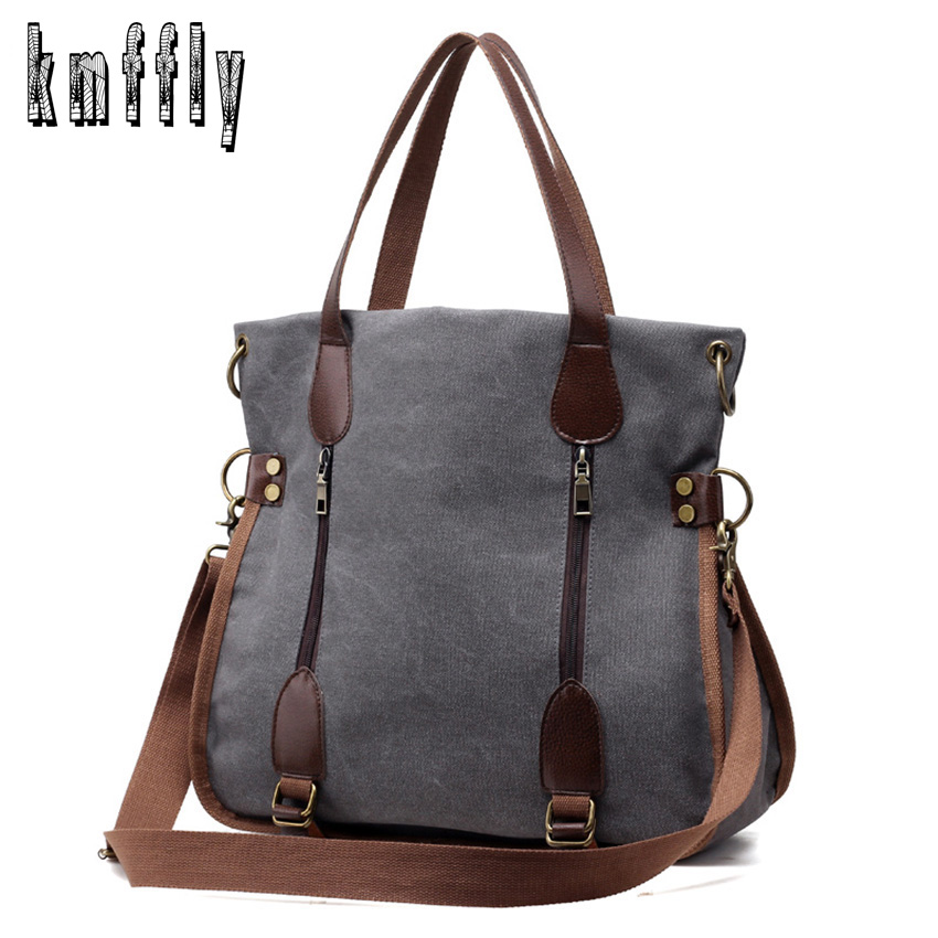 Kmffly 2017 Fashion Big Women Canvas Bag Ladies Shoulder Bags Handbags Women Famous Brands Large