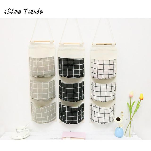 Wall Mounted 3 Bags Storage Bag Multilayer Hanging Kitchen Closet Toys Books Cosmetic Sundries Pouch
