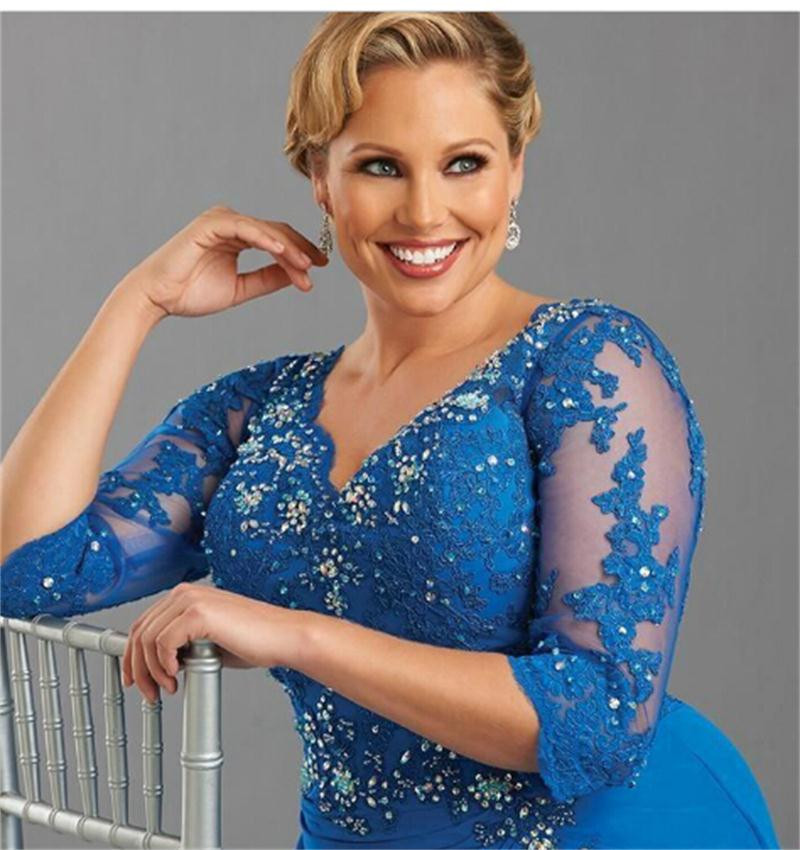 2016-Exquisite-Chiffon-Plus-Size-Royal-Blue-Mother-of-the-Bride-Dresses-With-Half-Sleeve-Custom (1)
