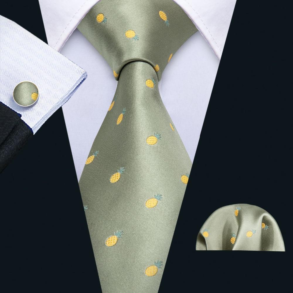 Barry.Wang Best Designer Green Wedding Tie Set 100% Silk Fahsion Neck Ties For Men Gift Wedding Groom Business Party FA-5118