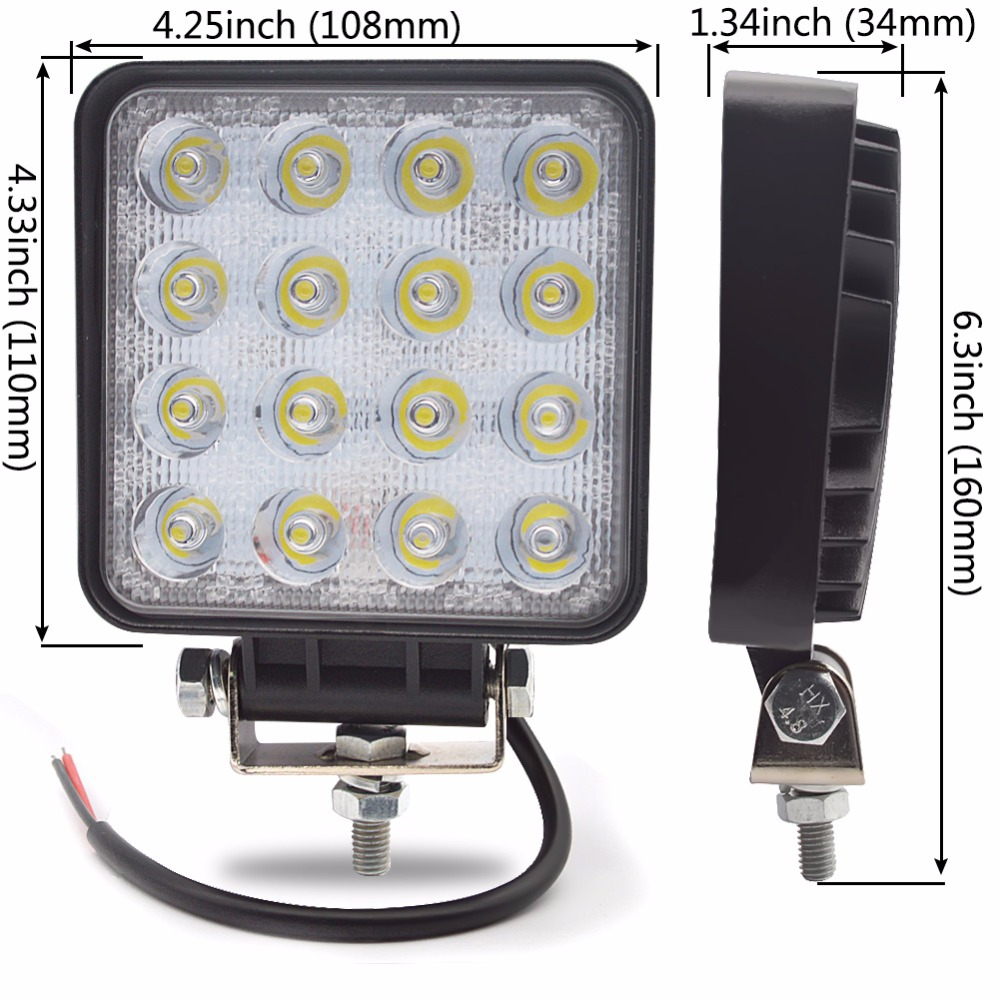 Safego 4pcs 4INCH 48W LED WORK light light Offroad 4x4 ATV - Ավտոմեքենայի լույսեր - Լուսանկար 2