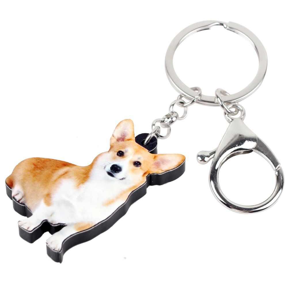 Bonsny Акриловые улыбка вельш корги пемброк, связка для ключей в виде собаки из цепочки брелок Новинка кольца домашних животных ювелирных изделий для Для женщин девочек Сумочка Подвески автомобиля