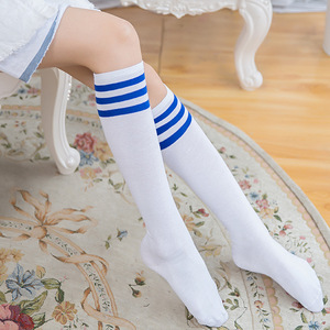 Image 5 - Sixteen Colors Harajuku Fashion Women Socks Mid Long Striped Sporting Horiery Elastic Student Socking Navy Style Long Socks