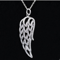 European sterling silver Compatible with women's Jewelry necklace 925 sterling silver Angel Wing pendant necklace
