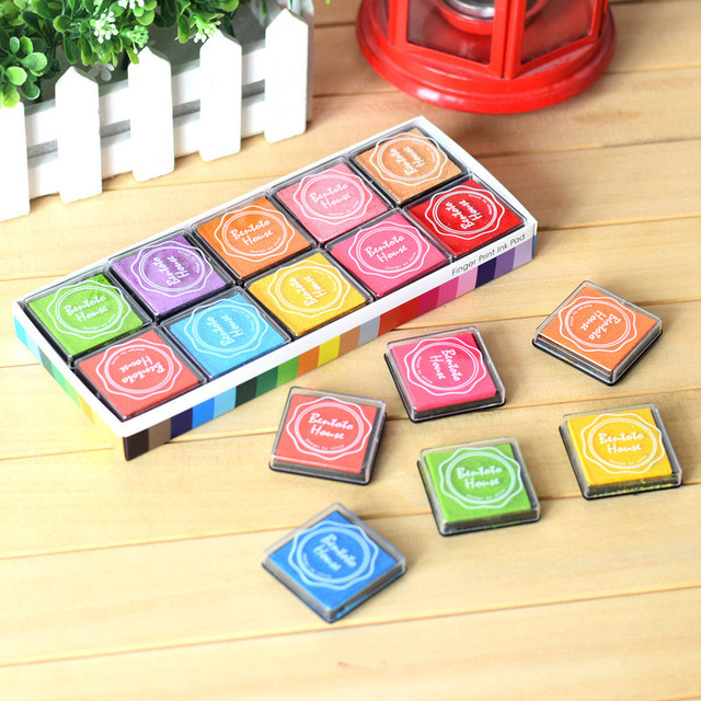 20pcs hot fashion finger painting color inkpad rubber kids scrapbooking stamps candy color book decoration 7d - Painting Color Book