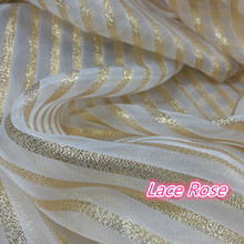 Tela de encaje dorado para vestido de noche/boda a rayas de Organza, Ropa de baile artesanal, accesorios para coser