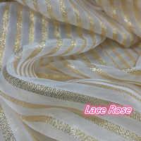 Tissu de dentelle d'or pour la mode soirée/robe de mariée Organza rayure dentelle bricolage vêtements de danse coudre sur accessoires tissu