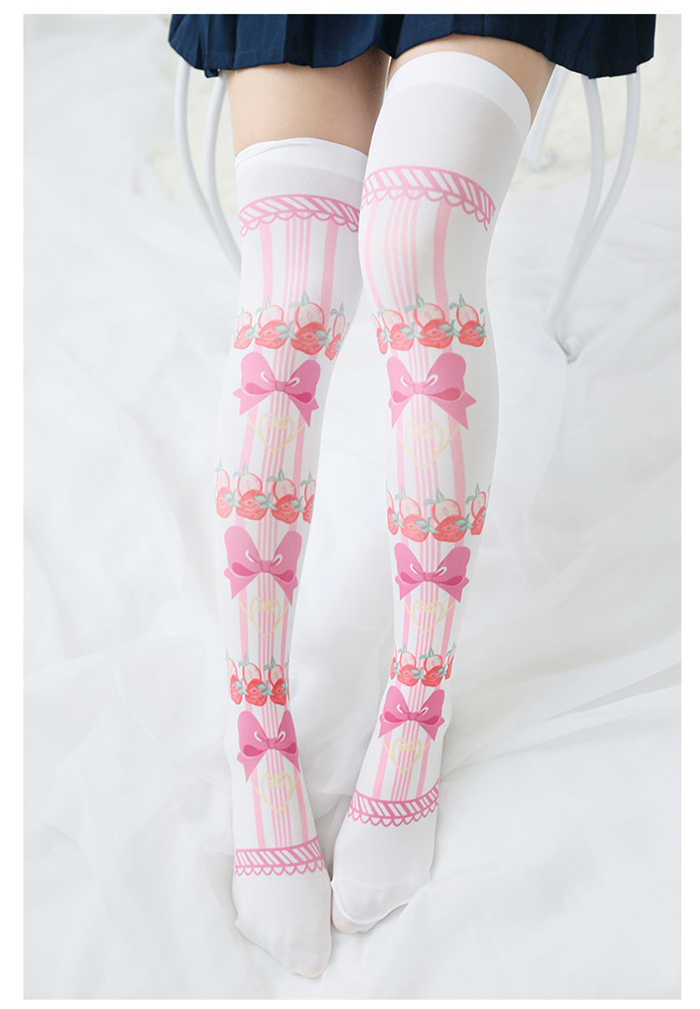 a0a34d5e29f stockings socks up knees Lolita print Strawberry cosplay accessories  Japanese style free shipping 2017