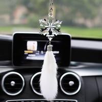 car decoration interior Autumn snowflake Fox hair crystal car pendant creative car pendant car rear view mirror pendant