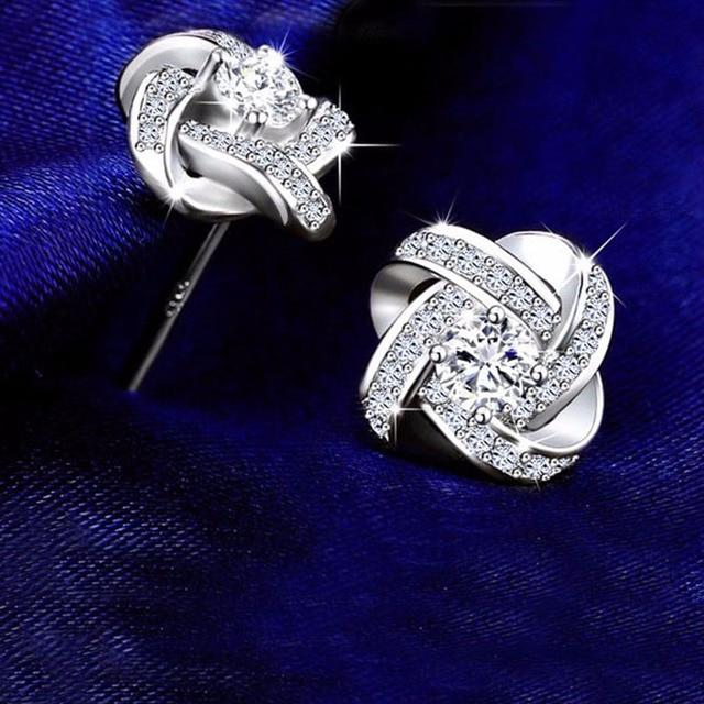 925 Sterling Silver Cubic Zirconia Twist of Fate Flower Stud Earing 2